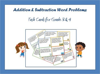Addition and Subtraction Word Problems - Task Cards for Gr