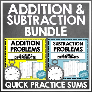 Addition and Subtraction Fluency Quick Number Facts Problems BUNDLE