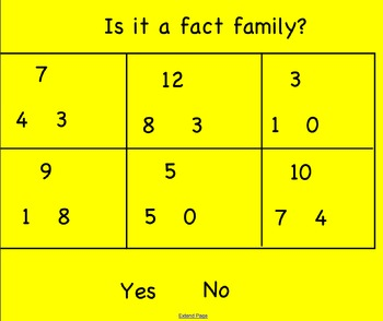 Addition and Subtract Fact Families