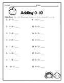 Addition and Subtraction 0-10 FREEBIE