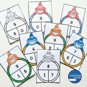 Addition and Subtraction 0-10 Matching Cards - Shark Themed