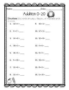 Addition and Subtraction 0-20