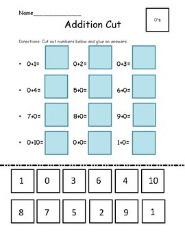 Addition and Subtraction 0-20 Cut Out