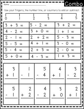 Addition and Subtraction 0-5 NO PREP 3 worksheets