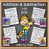 Addition and Subtraction Worksheets 1-20 Color by Code