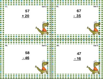 Addition and Subtraction -2-Digit Numbers- Without Regrouping-60 Task Cards