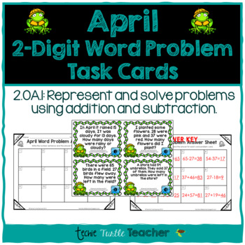 Addition and Subtraction 2-Digit Word Problem Task Cards - April Edition