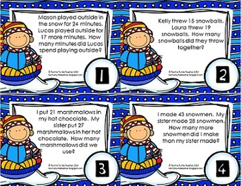 Addition and Subtraction 2-Digit Word Problem Task Cards - December Edition