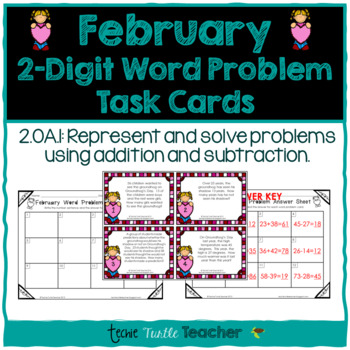 Addition and Subtraction 2-Digit Word Problem Task Cards - February Edition