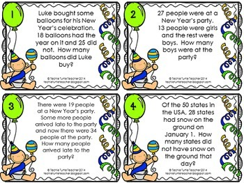 Addition and Subtraction 2-Digit Word Problem Task Cards - January Edition