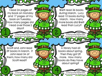 Addition and Subtraction 2-Digit Word Problem Task Cards - March Edition