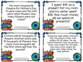 Addition and Subtraction 2-Digit Word Problem Task Cards - May Edition