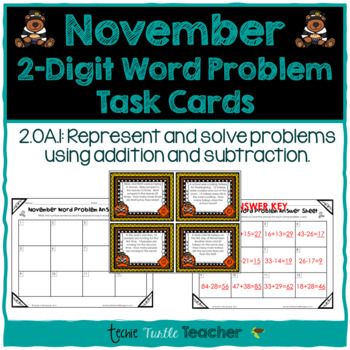 Addition and Subtraction 2-Digit Word Problem Task Cards - November Edition