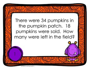 Addition and Subtraction 2-Digit Word Problem Task Cards - October Edition