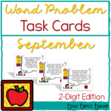 Addition and Subtraction 2-Digit Word Problem Task Cards - September Edition