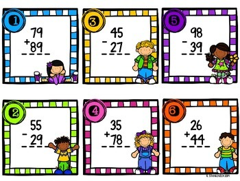 Addition and Subtraction 2-digit Scoot Task Cards