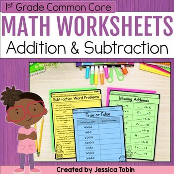 1st Grade Math Printables Worksheets- Operations and Algebraic Thinking OA