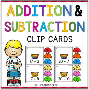 Addition and Subtraction Activity Center (Clip Cards)