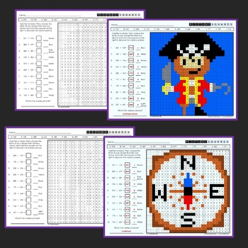 3rd Grade Addition and Subtraction Homework Worksheets, Mystery Pictures