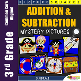 Addition and Subtraction Worksheet, 3rd Grade Math Review Packet Mystery Picture