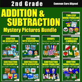 2nd Grade Addition and Subtraction Color By Number Code Worksheets