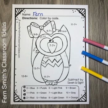 Color By Numbers Funky Owls Addition and Subtraction