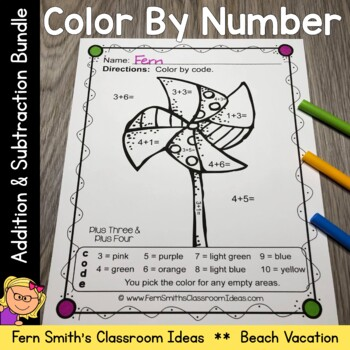 Color By Numbers Vacation Fun Math Addition and Subtraction