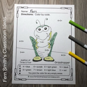 Color By Numbers Spring Bug Fun Addition and Subtraction