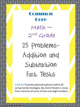 Addition and Subtraction 25 Question Fact Tests
