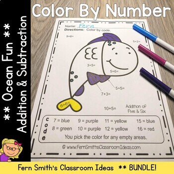 Color By Numbers Ocean Addition and Subtraction