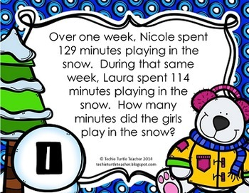 Addition and Subtraction 3-Digit Word Problem Task Cards - December Edition
