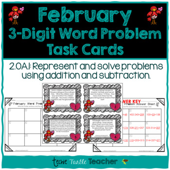 Addition and Subtraction 3-Digit Word Problem Task Cards - February Edition