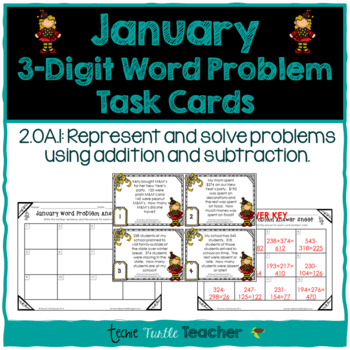 Addition and Subtraction 3-Digit Word Problem Task Cards - January Edition