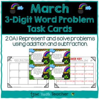 Addition and Subtraction 3-Digit Word Problem Task Cards - March Edition