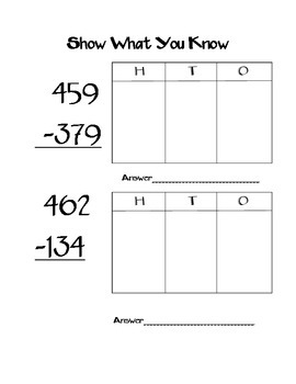 Addition and Subtraction (3-digit) Regrouping Quiz