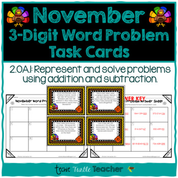 Addition and Subtraction 3-digit Word Problem Task Cards - November Edition