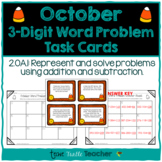 Addition and Subtraction 3-digit Word Problem Task Cards - October Edition