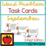 Addition and Subtraction 3-digit Word Problem Task Cards - September Edition