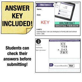 Addition and Subtraction | 3rd Grade Google Classroom Math Activities | 3.NBT.2