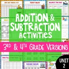 Addition and Subtraction Activities for 3rd and 4th Grade {4th Grade Unit 2}