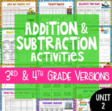 4th Grade Math Unit 2 Addition and Subtraction {Includes 3