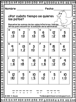 Addition and Subtraction Animal Riddles in Spanish