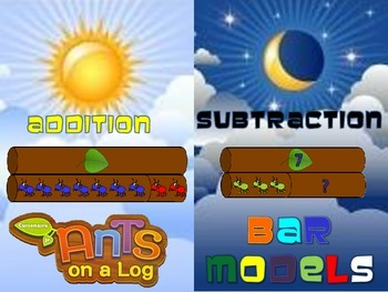 Addition and Subtraction Ants on a Log BAR MODEL Cards