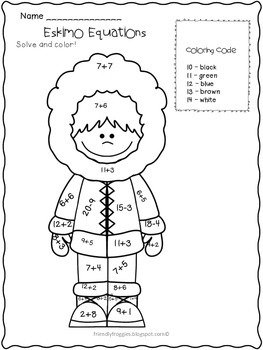 Math Coloring Sheets Addition and Subtraction -Polar Themed