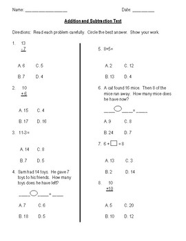 Addition and Subtraction Test (0-20 facts)