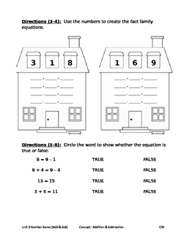 Addition and Subtraction Assessment