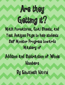 Addition and Subtraction Assessment Pack