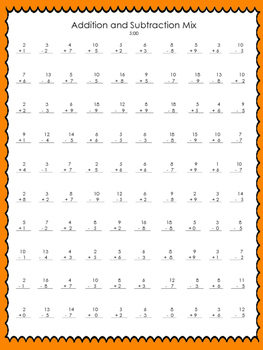 Addition and Subtraction Assessment Tests