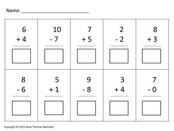 Addition and Subtraction Assessment (Whole Numbers 0-10)