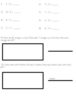 Addition and Subtraction Assessment With Word Problems (TEKS Based)